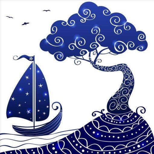 Vinilo Infantil barco arbol