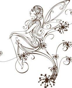 Vinilo Decorativo Hada Flor