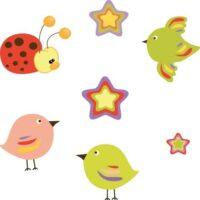 Vinilo Infantil pajaros y estrellas