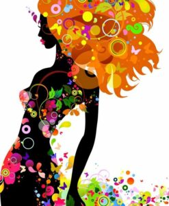 Vinilo color Mujer Floral