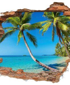 Vinilo Decorativo Agujero Caribe palmeras