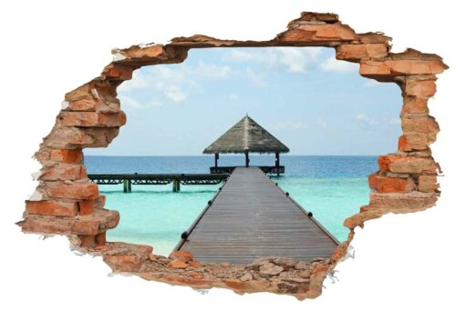 Vinilo Decorativo Agujero Ladrillo Maldivas