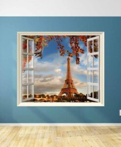 Vinilo Decorativo Ventana Torre Eiffel