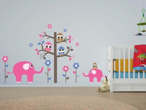 Vinilo Infantil Arbol Elefante