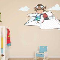 Vinilo Infantil Niño Avion