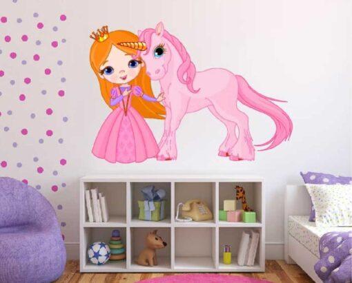 Vinilo Infantil Princesa Unicornio