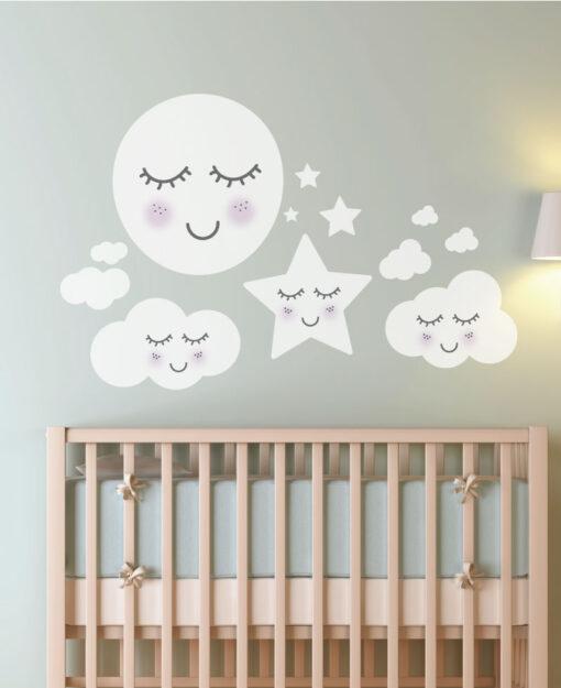 Vinilo Infantil Nubes Animadas